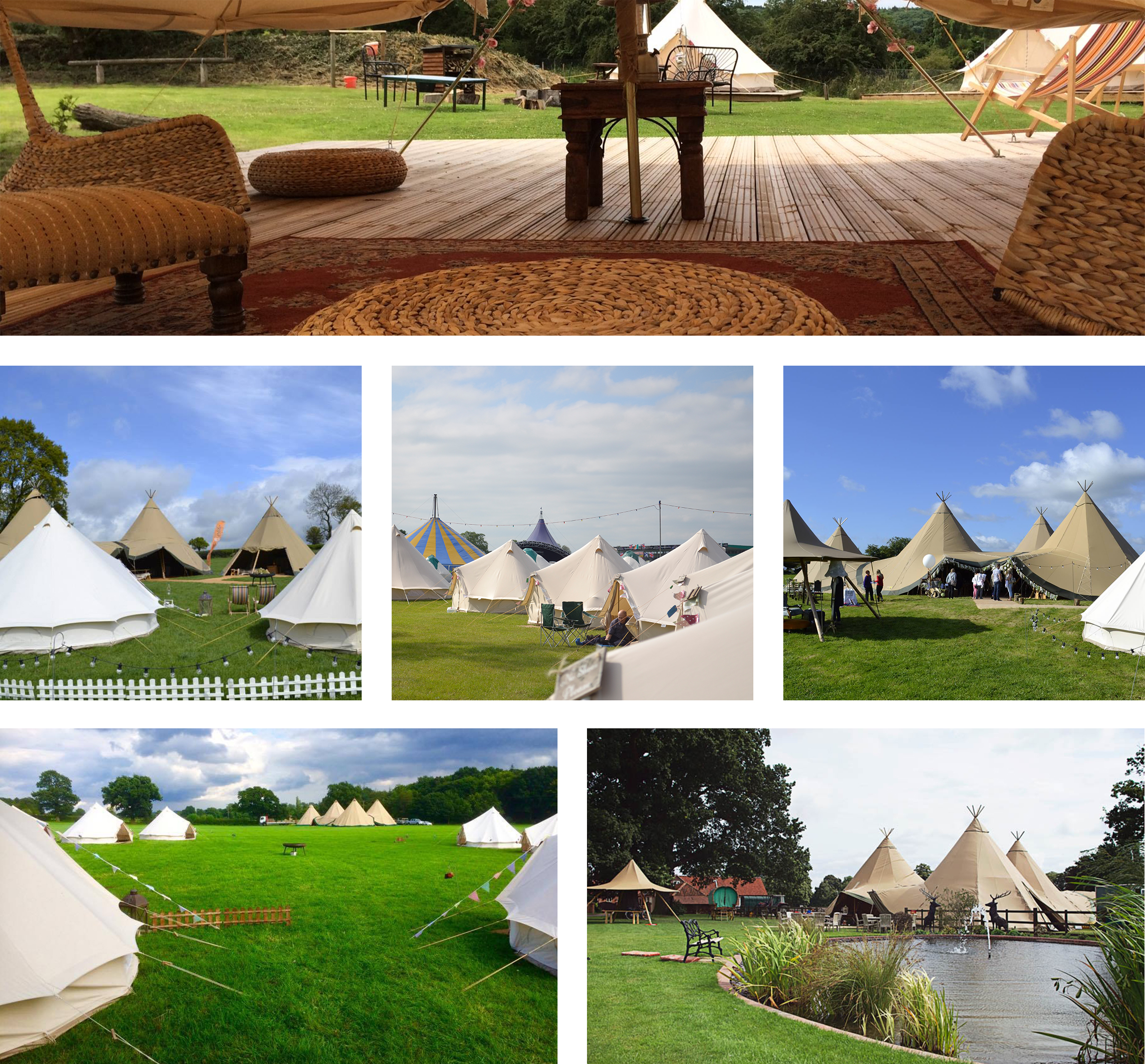 Image collage of Bell Tents set up for an event