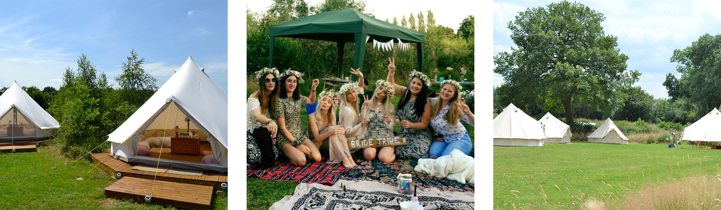 A hen camp party glamping experience with friends and bell tents