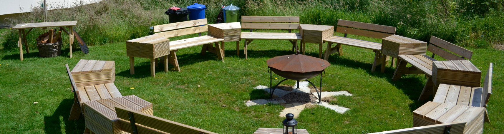 Wooden Bench seating area at a Hen Camp