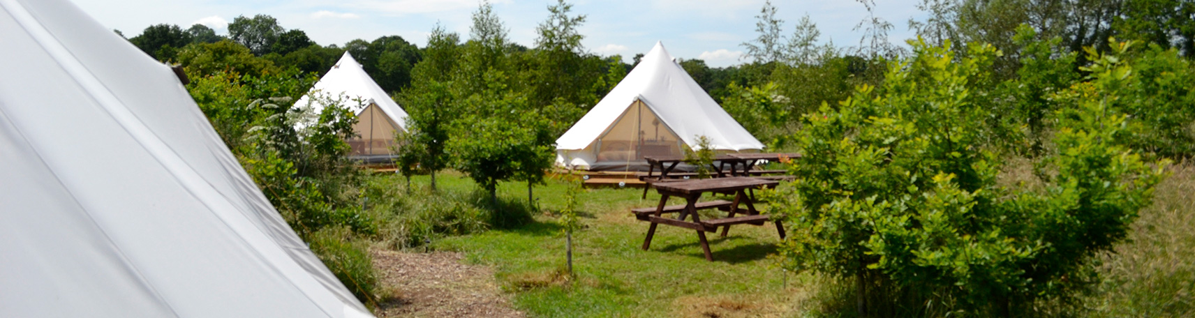 Bell Tents together in a field in the day