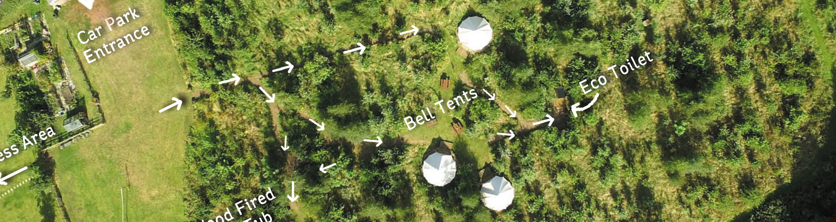 A map of the camping area with Bell Tents at The Grange