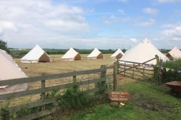 Group of Bell Tents in an open countryside in blue skies