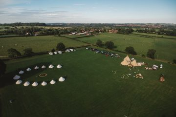 Tinkers Bells village with Bell Tents in a group