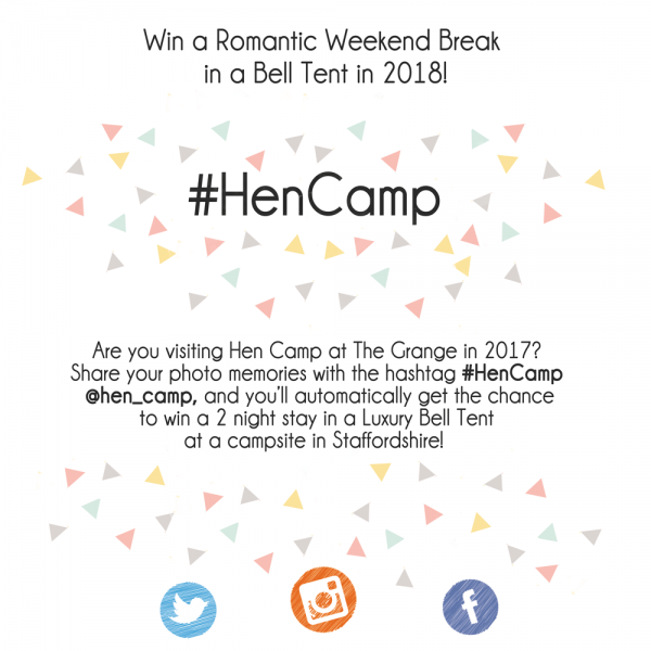 Details about a competition for a romantic weekend break using #HenCamp