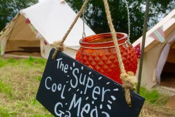Signage being used at a Bell Tent event