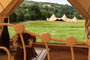 View from the inside of a bell tent